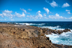 Wild Coastline of Aruba in the Caribbean Stock Photography