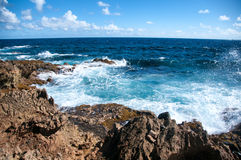 Wild Coastline of Aruba in the Caribbean Stock Photo