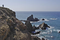 The wild coastline of Cabo the Gata, in Andalusia. Royalty Free Stock Photography