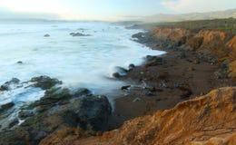 Wild coastline near Hearst Castle, California, USA. Sunset over Coastline near Hearst Castle, San Simeon, central California, USA Royalty Free Stock Photos