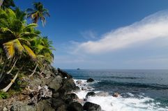 Wild Colombian Caribbean coast near Capurgana Stock Photo
