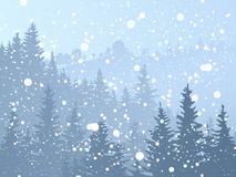 Wild coniferous snowy forest. Royalty Free Stock Photos