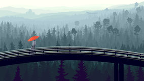 Wild coniferous wood in morning fog with bridge. Vector panorama of man with red umbrella on bridge through wild coniferous forest in morning fog with pines Royalty Free Stock Photography