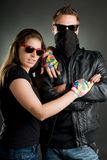 Wild couple with sunglasses Royalty Free Stock Photo
