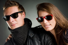 Wild couple with sunglasses Stock Images