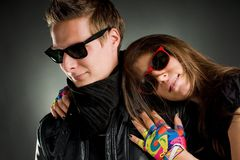 Wild couple with sunglasses Royalty Free Stock Photography