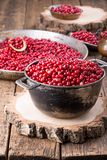 Wild cowberry foxberry, lingonberry. On wooden table stock image