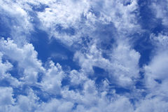 Wild cumulus clouds in the clear deep blue sky Stock Photos