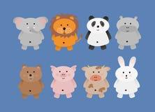 Wild cute vector animals set. Illustration of isolated wild cute cartoon animals vector illustration