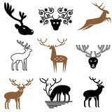 Wild deer icons Royalty Free Stock Photos