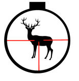 Wild deer in optical sight. Silhouette of the wild deer through optical sight Stock Photography