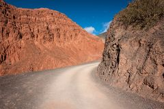 Wild desert road in Argentina. royalty free stock photos
