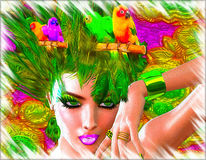 A wild digital art fashion scene with an exotic green feathered outfit worn by a stunning 3d model. Stock Photography