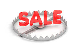 Wild discounts! Threat discount! Bear trap with red word SALE. 3d illustration Stock Photo