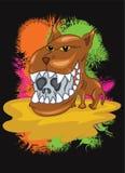 Wild Dog with Big Head and Sharp Teeth. Cartoon Stock Photography