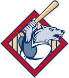 Wild dog wolf player baseball bat Royalty Free Stock Photos
