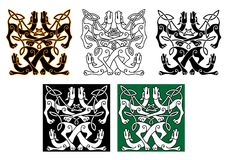 Wild dogs celtic knot ornaments Stock Photo