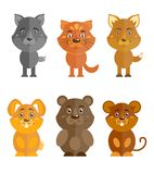 Wild and domestic animal icons set Royalty Free Stock Photos