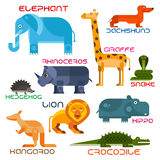 Wild and domestic animals cartoon flat icons Stock Photography