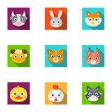 Wild and domestic animals. A set of pictures about animals. Animal muzzle icon in set collection on flat style vector. Symbol stock web illustration Royalty Free Stock Images