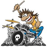 Wild Drummer Playing Drum Set Cartoon Vector Illustration. Funny cartoon of rock drummer playing a five piece drum kit, swinging arms, banging the drums, wild stock illustration
