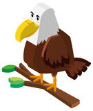Wild eagle on branch in 3D design Royalty Free Stock Photography