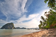 Wild Exotic Beach. Scenery Panorama Royalty Free Stock Photos