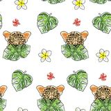 Tropical summer background with cute cartoon items