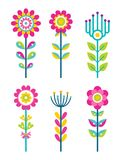 Wild Field Flowers in Colorful Ornamental Design. Set. Unusual florets of bright pieces. Plant with blossom on long stem isolated vector illustrations Stock Images