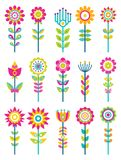 Wild Field Flowers in Colorful Ornamental Design. Set. Unusual flowers of bright pieces. Plant with blossom on long stem isolated vector illustrations Stock Image