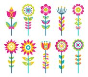 Wild Field Flowers in Colorful Ornamental Design. Set. Unusual flowers of bright pieces. Plant with blossom on long stem isolated vector illustrations Royalty Free Stock Image