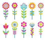 Wild Field Flowers in Colorful Ornamental Design. Set. Unusual flowers of bright pieces. Plant with blossom on long stem isolated vector illustrations Stock Photography