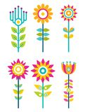 Wild Field Flowers in Colorful Ornamental Design. Set. Unusual flowers of bright pieces. Plant with blossom on long stem isolated vector illustrations Royalty Free Stock Photos