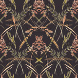 Wild field grass pattern. Beautiful seamless pattern with hand drawn watercolor wild field grass Royalty Free Stock Images