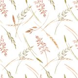 Wild field grass vector pattern. Beautiful vector seamless pattern with hand drawn watercolor wild field grass Royalty Free Stock Photo