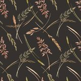 Wild field grass vector pattern. Beautiful vector seamless pattern with hand drawn watercolor wild field grass Stock Photo