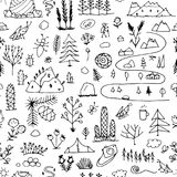 Wild field, nature seamless pattern for your design. Vector illustration Stock Images