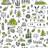 Wild field, nature seamless pattern for your design. Vector illustration Stock Image