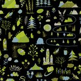 Wild field, nature seamless pattern for your design. Vector illustration Royalty Free Stock Images