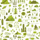 Wild field, nature seamless pattern for your design. Vector illustration Royalty Free Stock Photo
