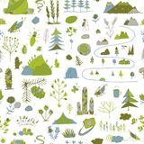 Wild field, nature seamless pattern for your design. Vector illustration Royalty Free Stock Image