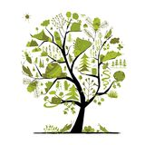 Wild field, tree concept for your design. Vector illustration Stock Image