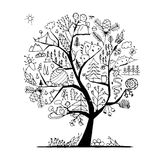 Wild field, tree concept for your design. Vector illustration Royalty Free Stock Images