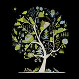 Wild field, tree concept for your design. Vector illustration Stock Images