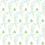 Wild fine blue flower spring field seamless pattern. Floral tender fine summer vector pattern on white background. For fabric textile prints and apparel Royalty Free Stock Images