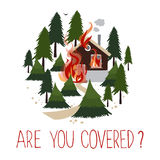 Wild fire in a forest. Burning house. Icon for advertising insurance. Vector illustration Stock Photography