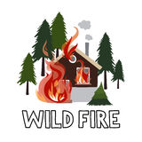 Wild fire in a forest. Burning house. Vector illustration Royalty Free Stock Images
