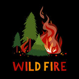 Wild fire in a forest. Vector illustration Stock Photography