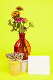 Wild Flower Bouquet. A vase of colorful wild flowers against a colorful solid background Stock Photos