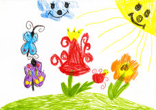 Wild flower and butterfly on sunny meadow. child drawing Stock Images